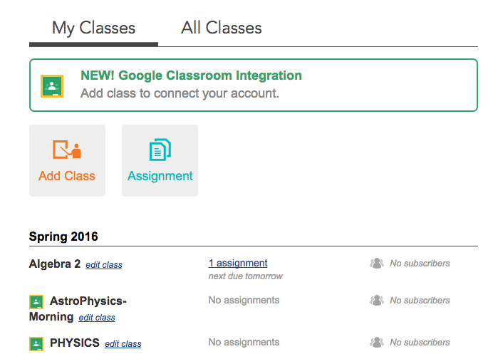 Connected classes are marked with a Google Classroom logo