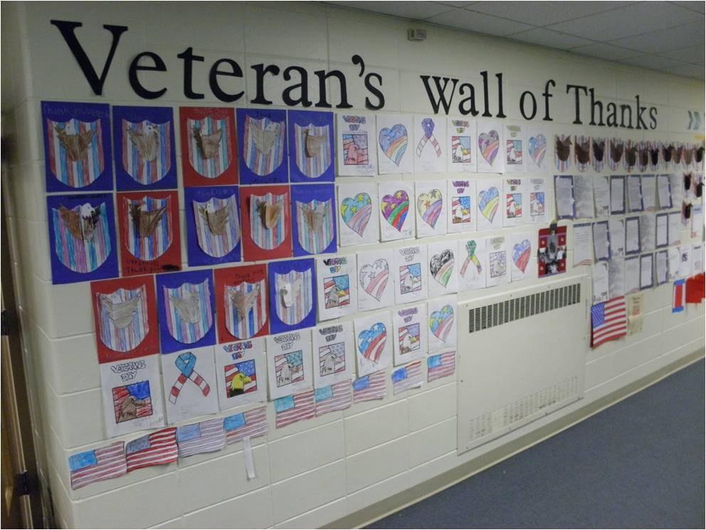 Student art work for Veteran's Day.
