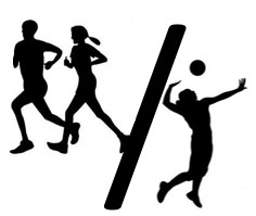cross country & volleyball sillouette