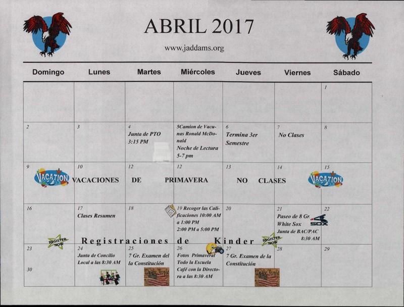 SPANISH APRIL CALENDAR 2017 Thumbnail Image