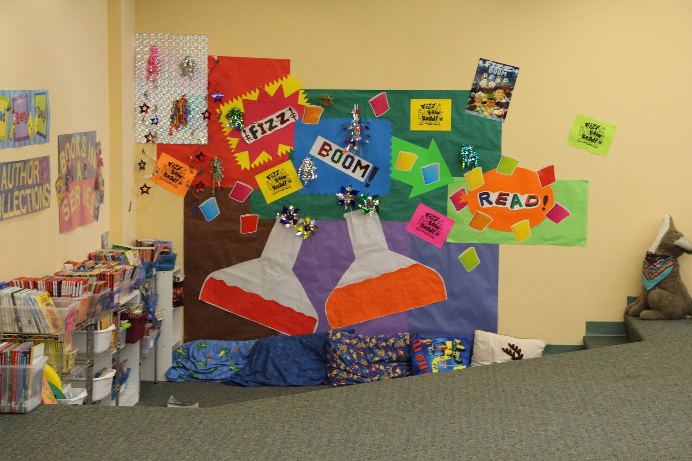 Photo of a bulletin board in the library.