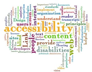 Word cloud with a variety of accessibility related words in it.