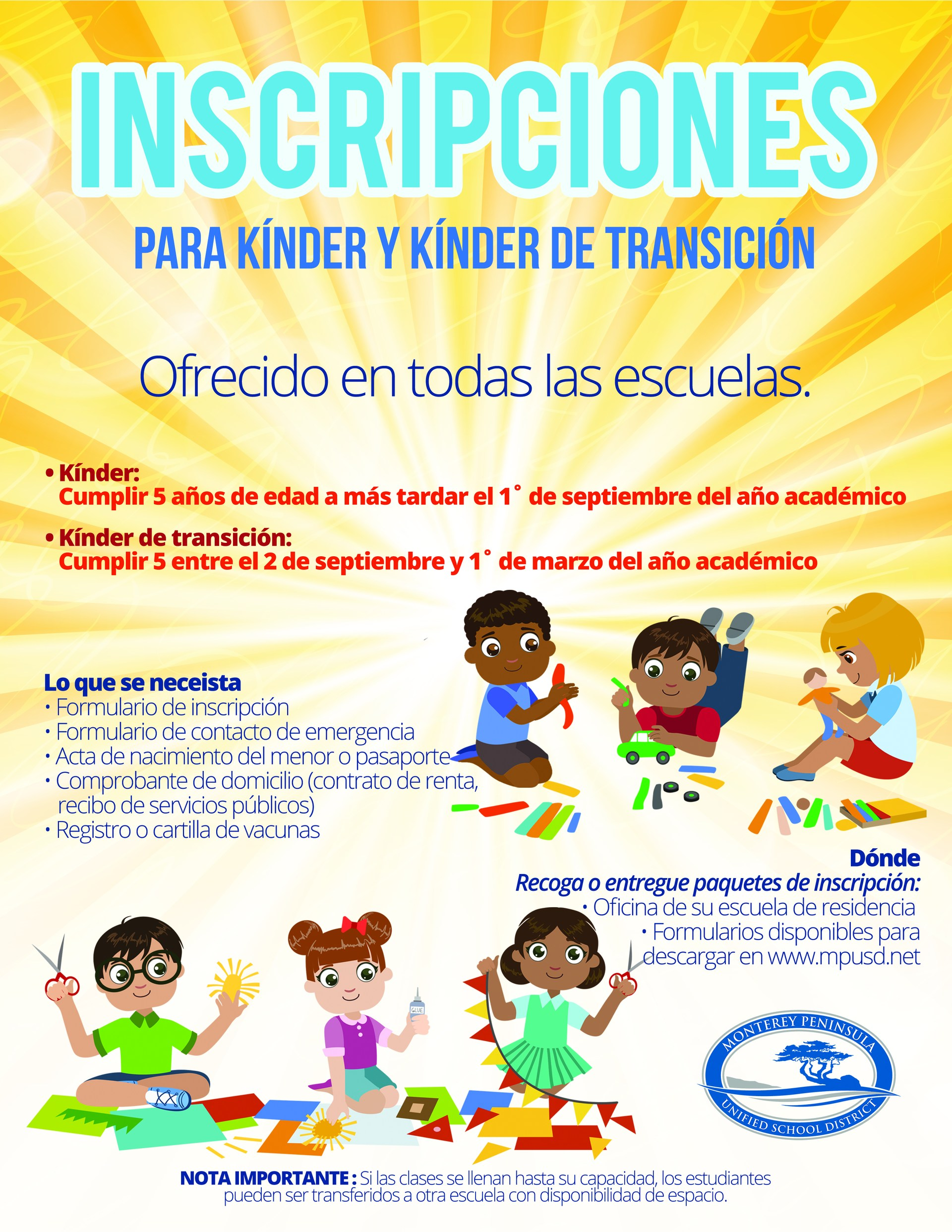 Informational TK and Kindergarten Flyer Spanish.