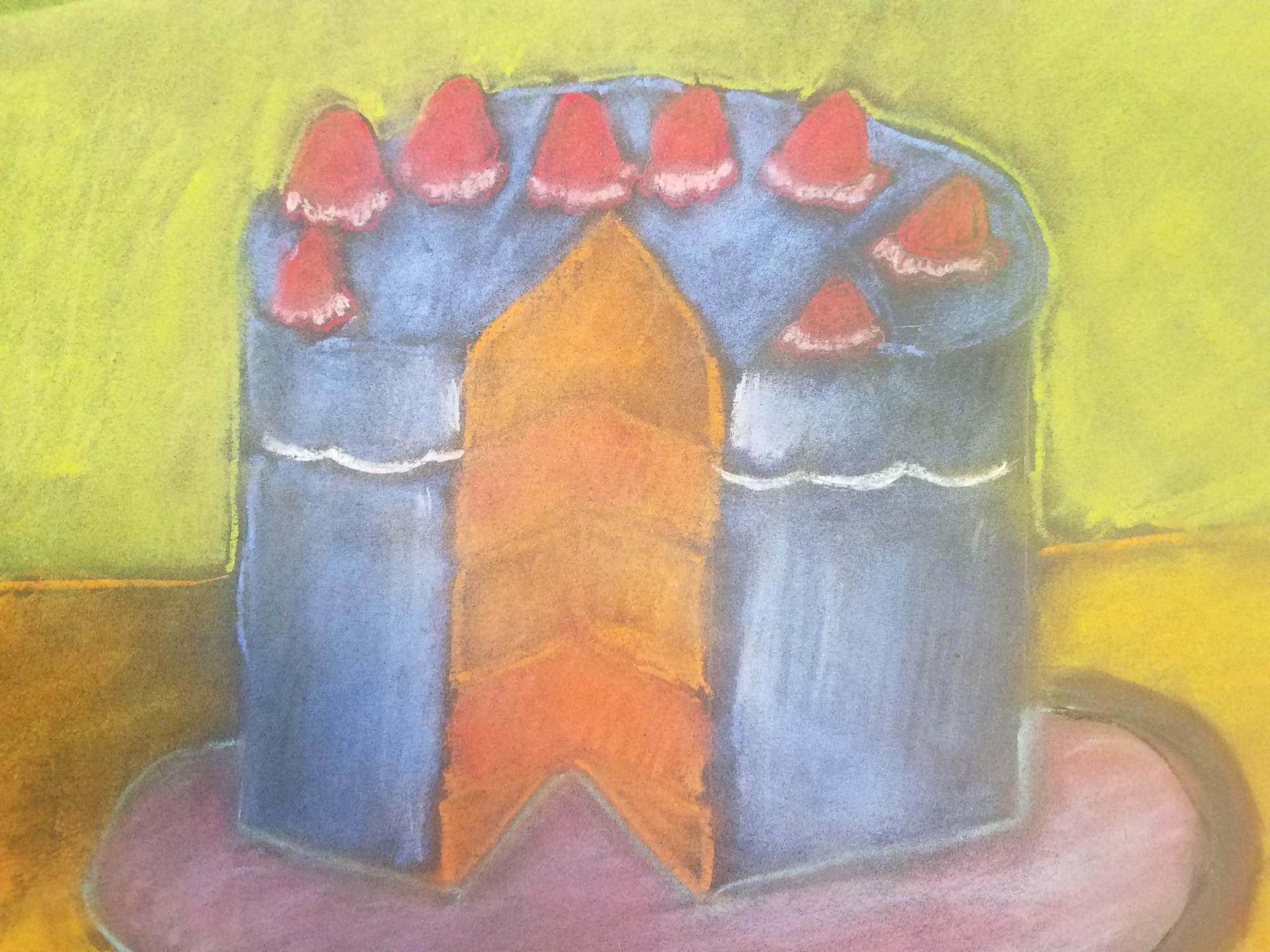 Wayne Thiebaud inspired pastel drawing by Abigail Bretz.