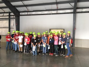 Group pictures of students wearing hard hats.