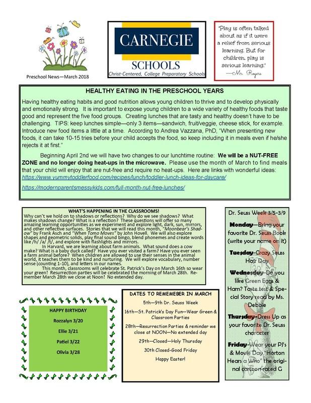Preschool March Newsletter Featured Photo