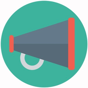 graphic of a megaphone representing the communications department