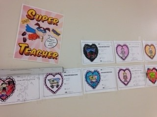 Photo of Valentines the speech students made for their teachers.