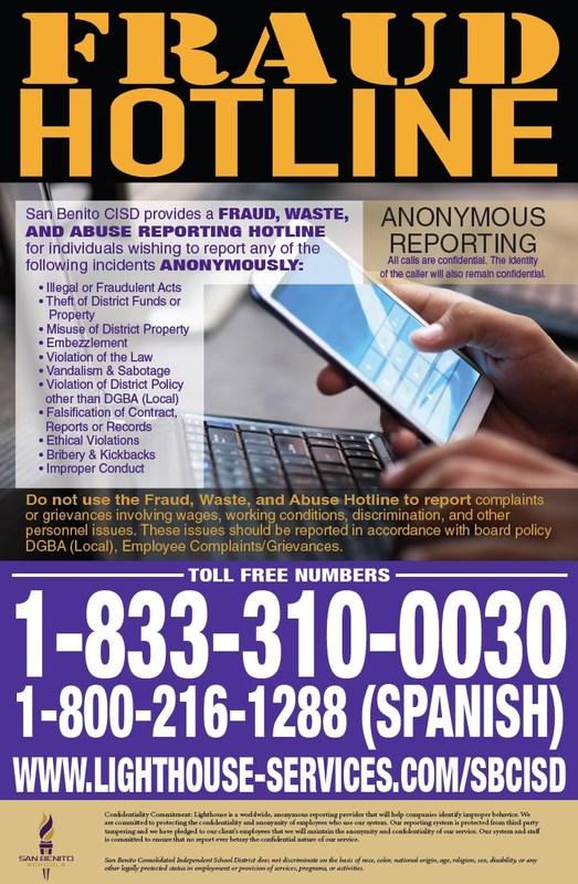 Fraud Hotline flyer
