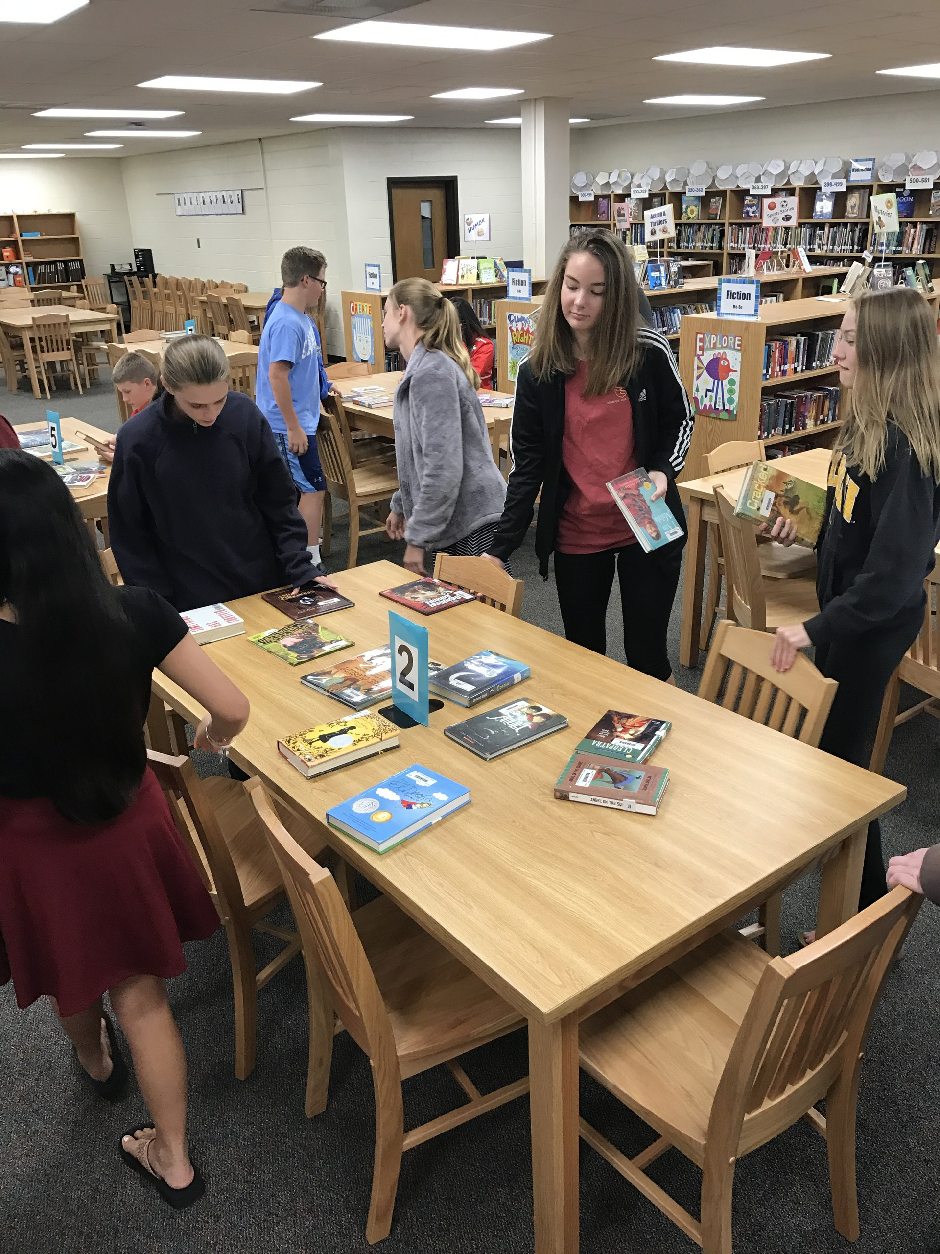Speed dating with books at NDMS.
