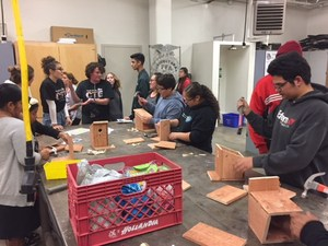 Students learning how to build at the CTE fair.