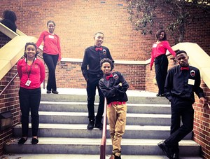Photo of BMS JAG students in swag pose at Lafayette Conference