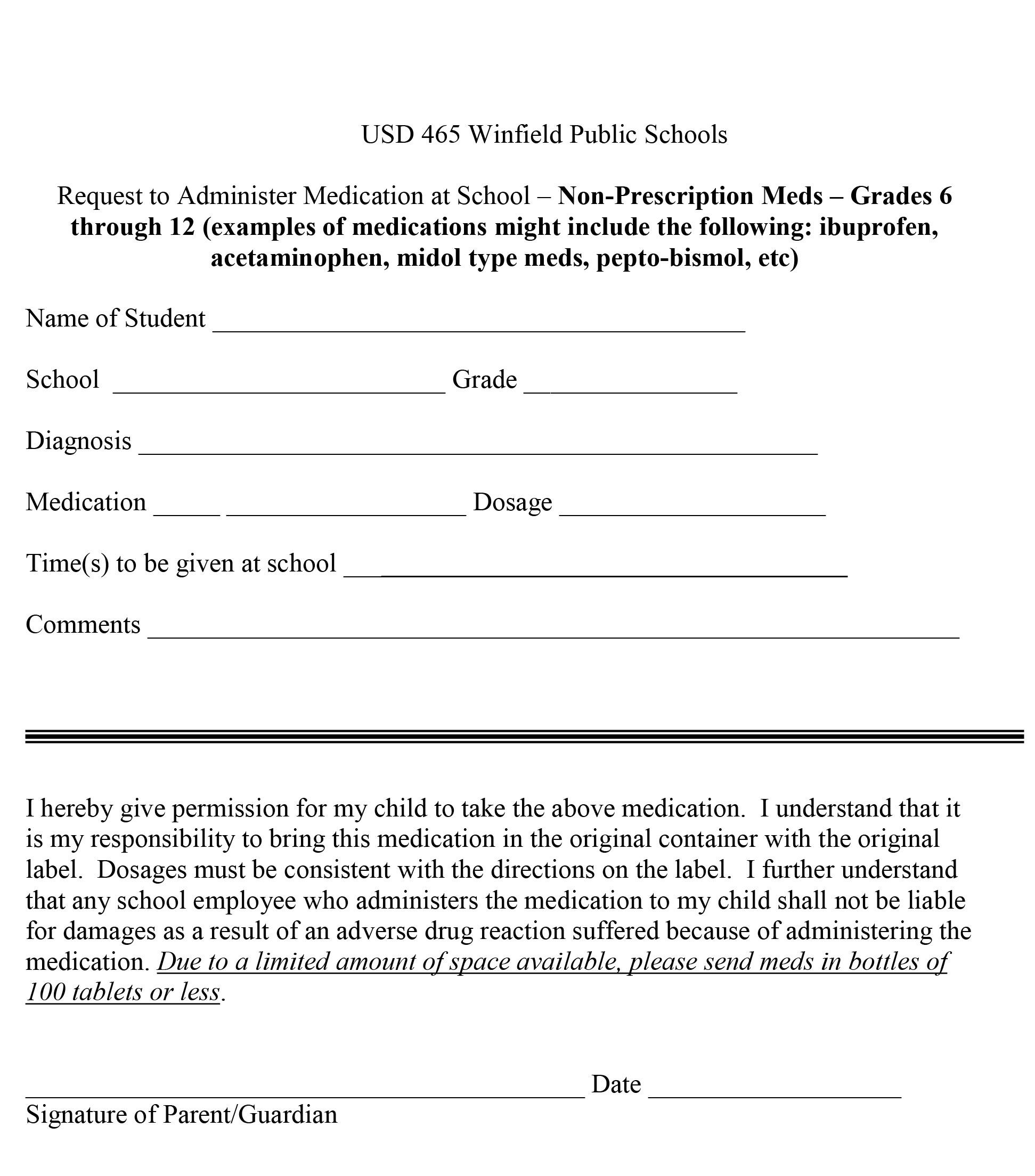 NonPrescription Release Form 2016 Enrollment Winfield Unified – Parent Release Form