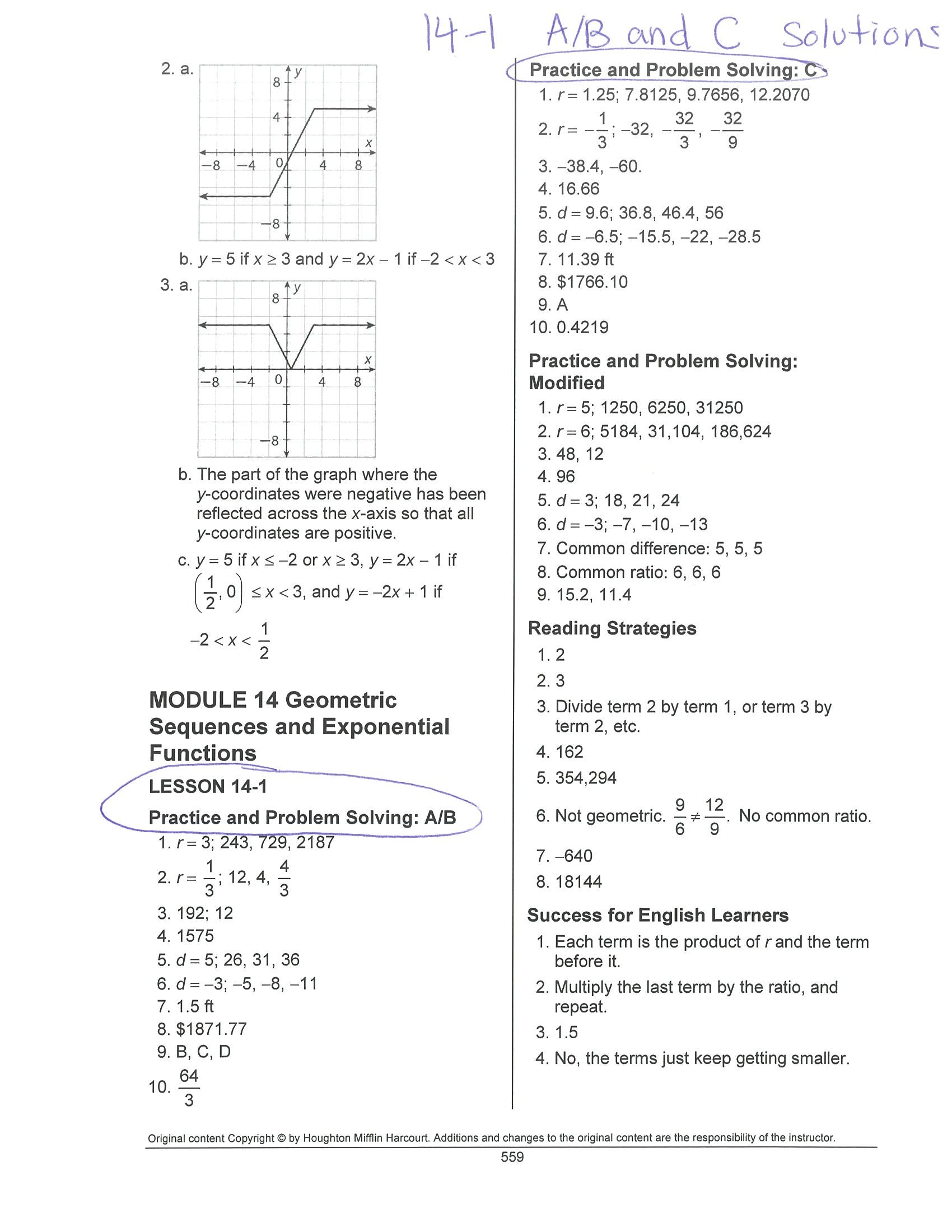 Worksheets Integrated Math 1 Worksheets south pasadena high school 14 1 practice ab and c solutions jpg