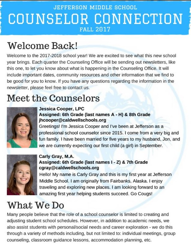 September's Counseling Connection Newsletter! Thumbnail Image
