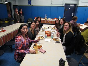 teachers gathered to share a meal of thanks
