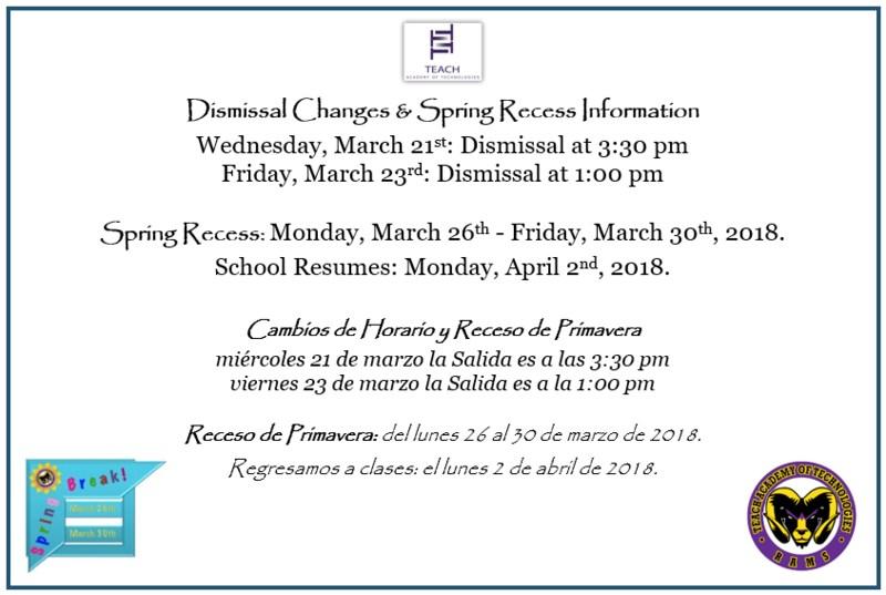 TEACH Academy Dismissal Changes & Spring Recess Information! ¡Información de Cambios de Horario y Receso de Primavera de TEACH Academy! Featured Photo