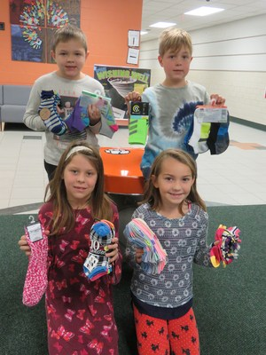 Lee Student Council members show a few of the socks collected during