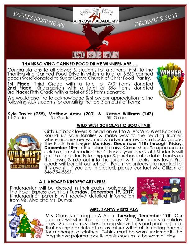 Eagles Nest Newsletter December Page 1