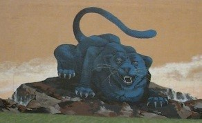 This is a picture of our Shade Panther mural on the high school outside gymnasium wall.