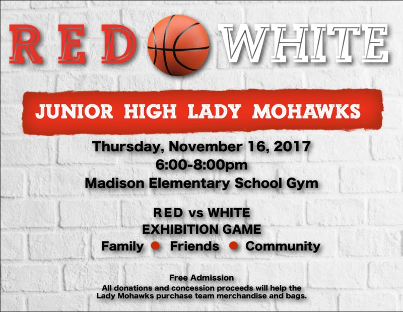 red and white game flyer junior high girls basketball