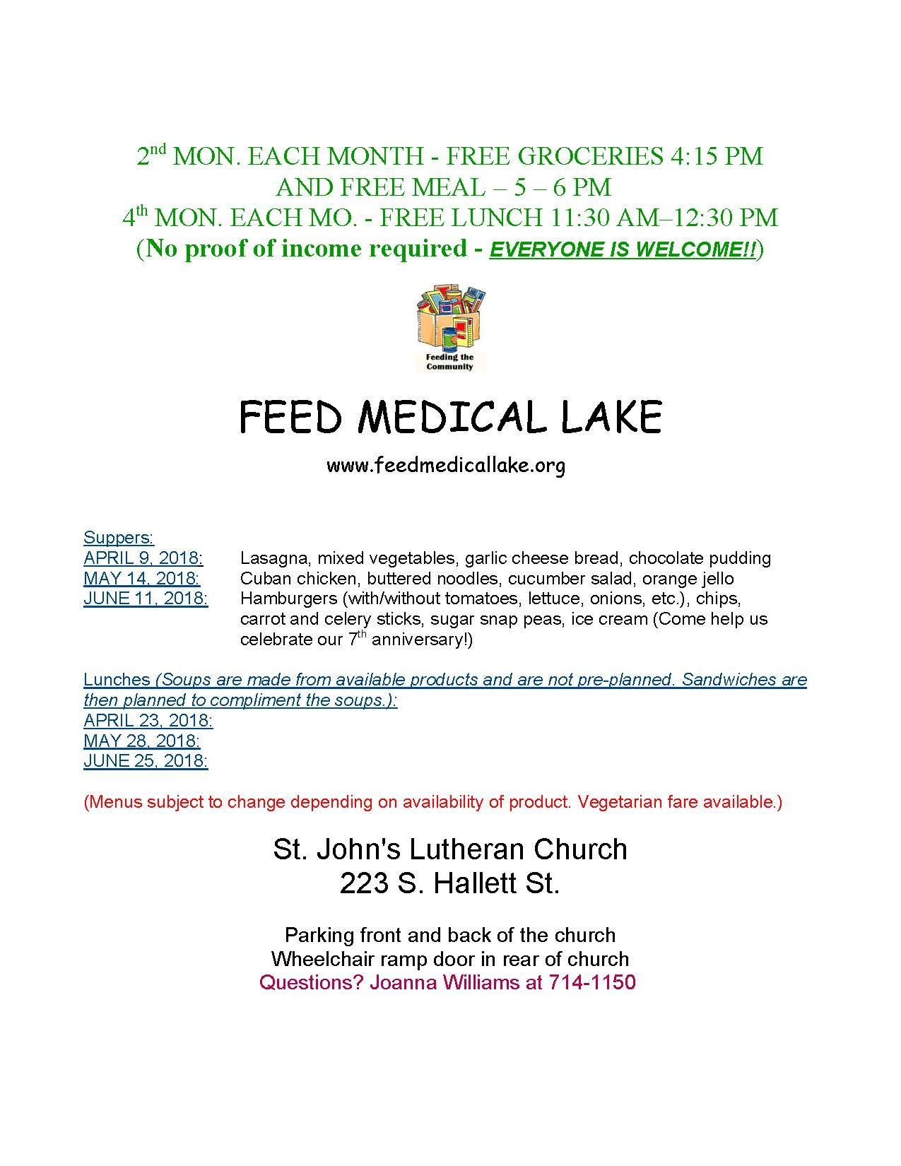 Feed Medical Lake Flyer for April, May and June 2018