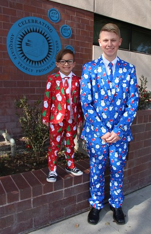 Downtown students in Christmas attire