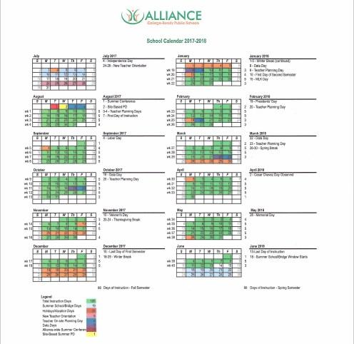 2017-2018 Alliance School Calendar Thumbnail Image