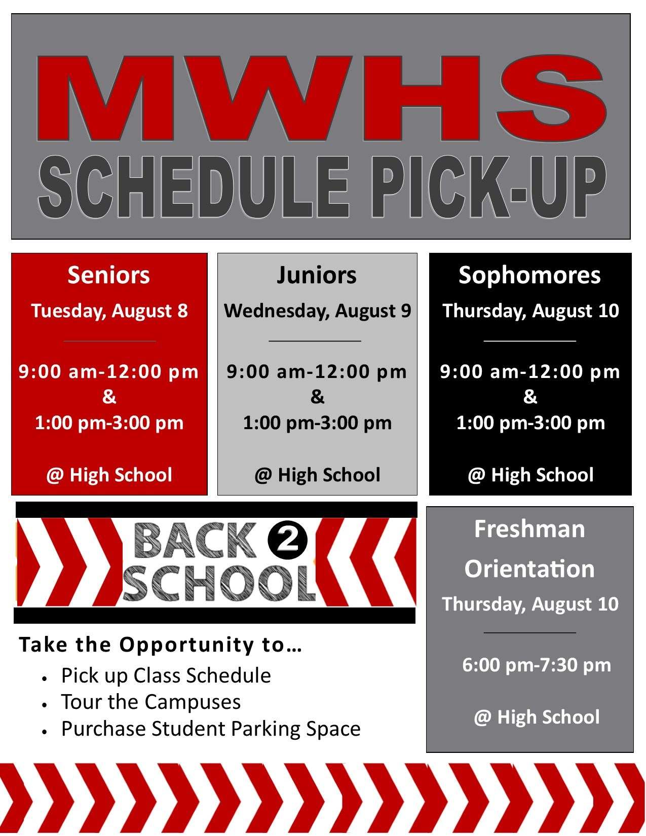 High School Class Schedule Pick Up Times and Dates