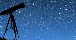 Sky with stars and telescope