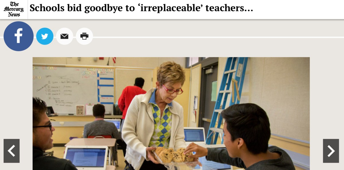 Image of Candy Basso, a devoted ESL teacher, retiring after teaching for 20 years at Del Mar, as featured in the San Jose Mercury News