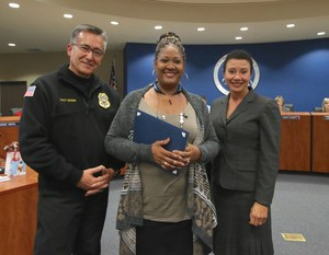Chief of Fire Scott Brown, Bus Driver Sysonna Allen, and Deputy Superintendent Dr. LaFaye Platter