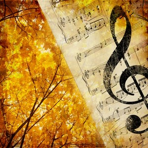 Autumn trees and music notes