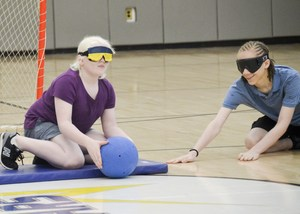 Camper makes a nice block on the goalball