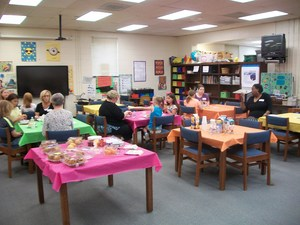 Mentors and their buddies met in the Media Center for brunch.