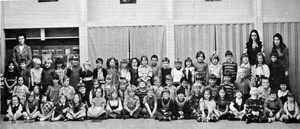 Scanned photo of 1974 Sceptre yearbook of kindergarteners and first grade classes
