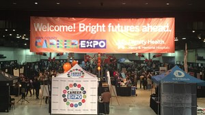 Overview of Kern County Career Expo at Rabobank Convention Center.