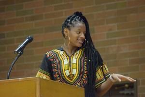 student speaking