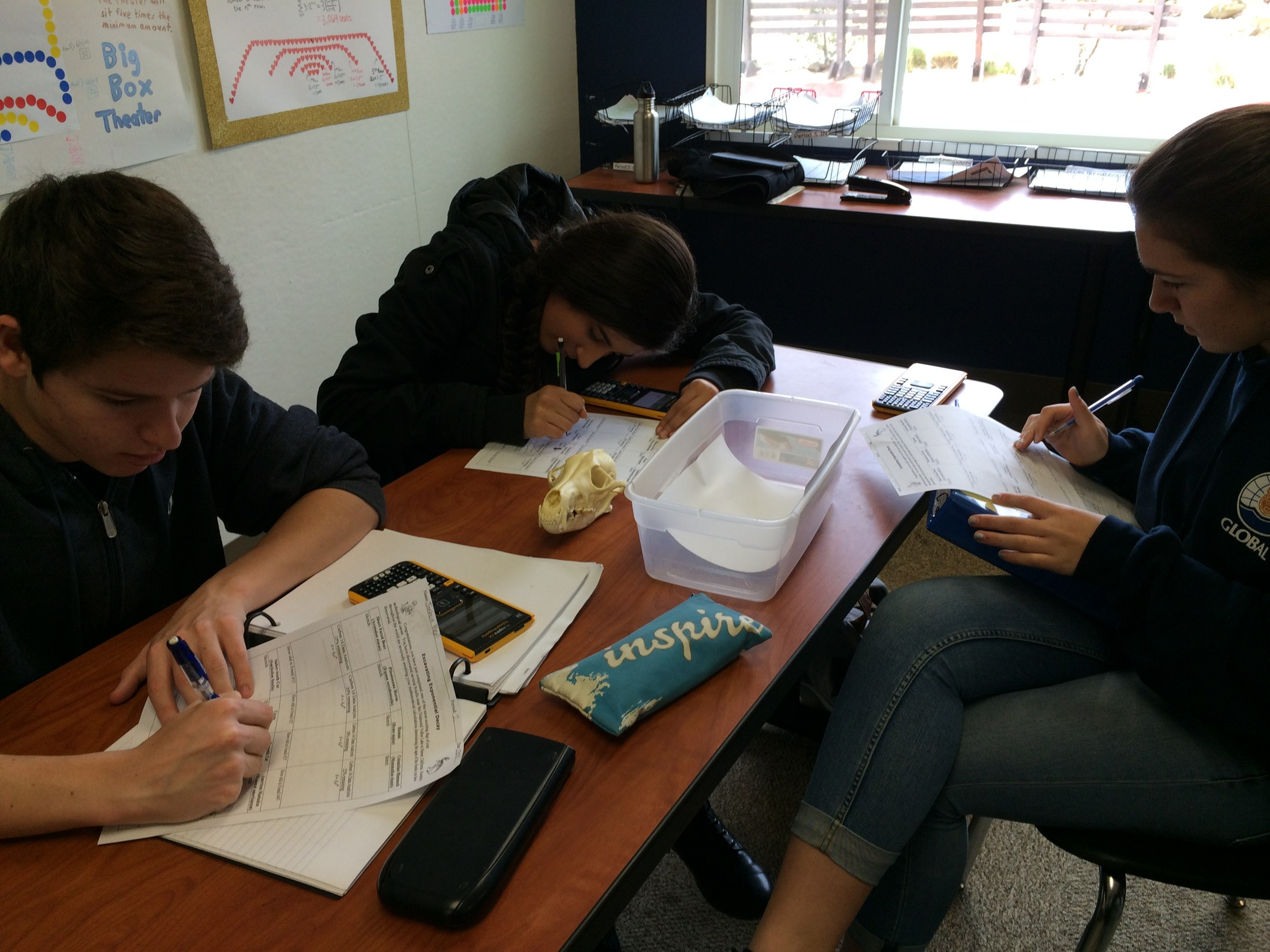 Today the sophomores used natural logarithms to solve problems involving radioactive decay.