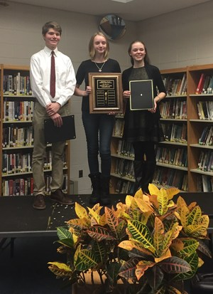 From left to right: Tommy Vite (1st runner up), Lucy Glover (school champion), Madeline Carleton (2nd runner up)