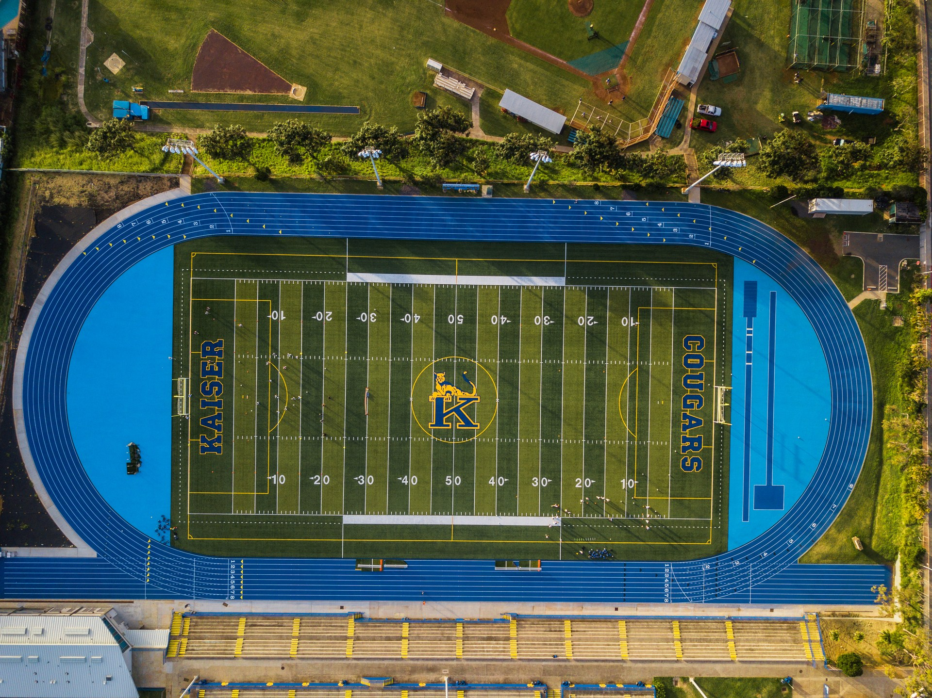 Ariel view of Kaiser High School football field