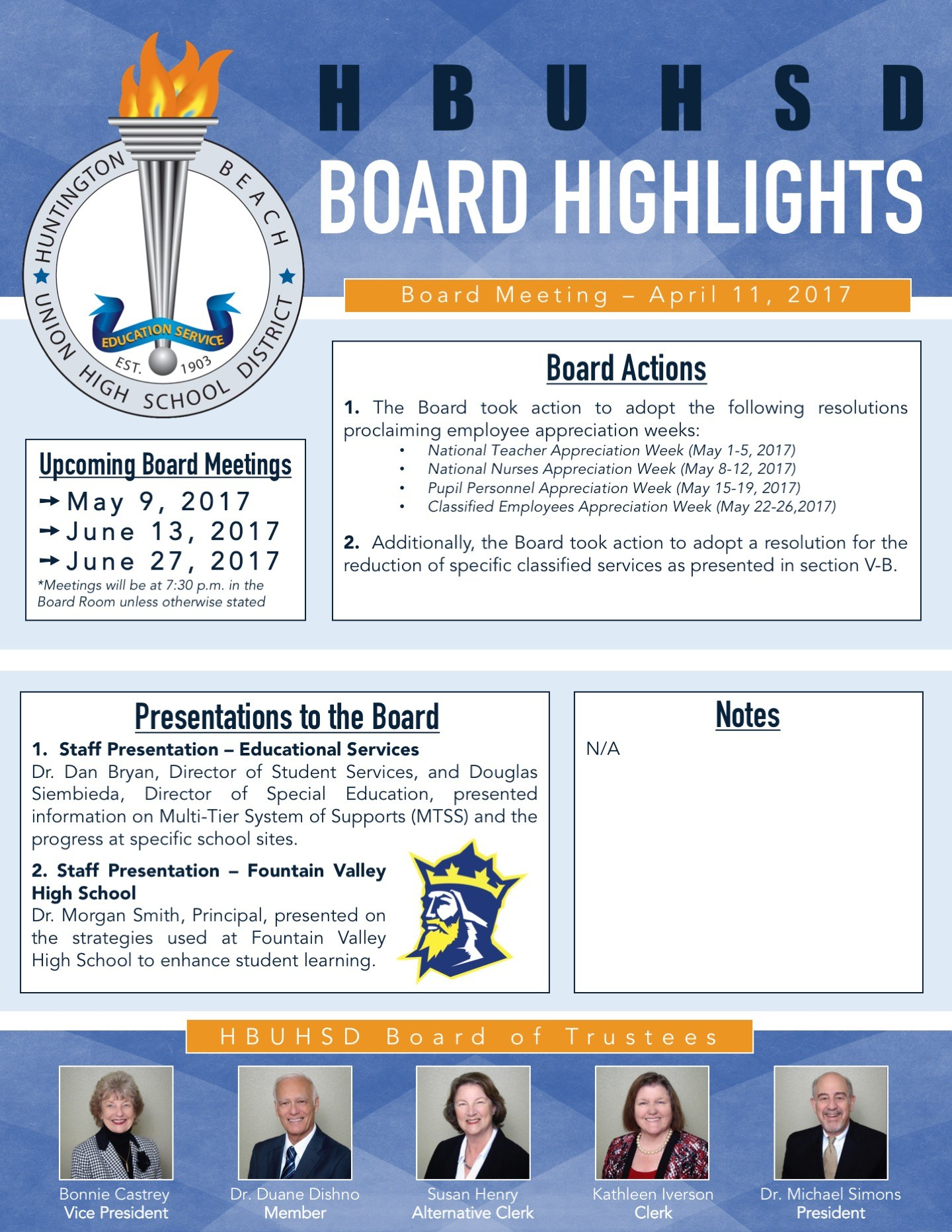 Board Highlights from the April 11, 2017 Board of Trustees meeting.