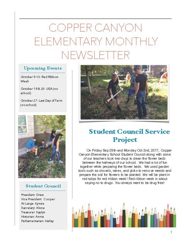 Student Council Monthly News Letter Thumbnail Image