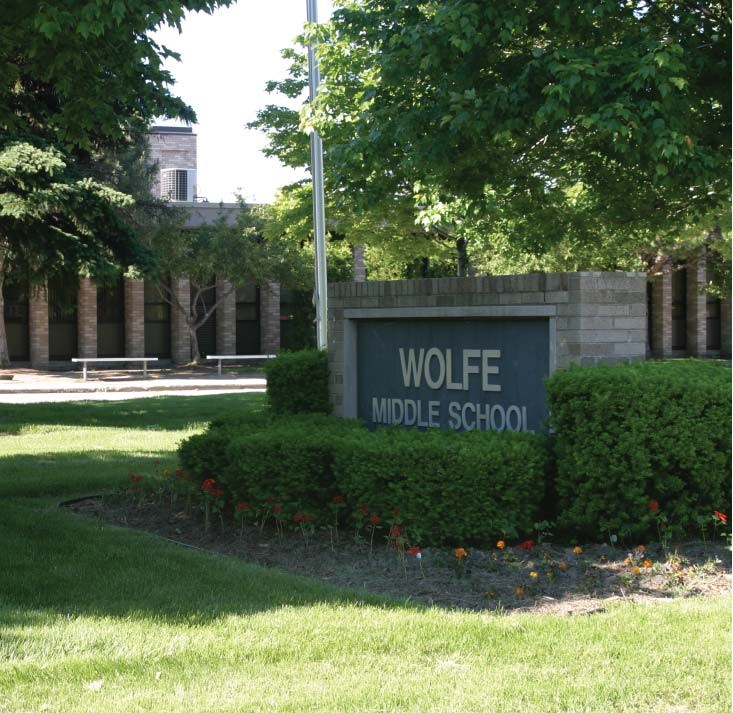 View of Wolfe Middle School marquee