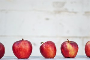 Row of apples.