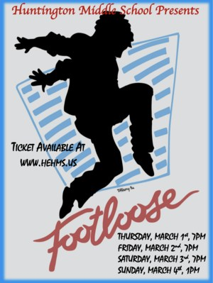 Dancer in mid air with musical title, 'Footloose'