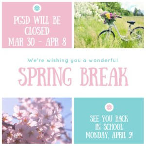 PGSD will be closed March 30-April 8. Back in school April 9