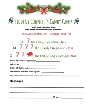 Student Council Candy Canes Order Form
