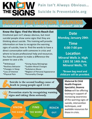oncerned parents, youth, community members, and educators are all invited to attend the MWISD Suicide Prevention training ,