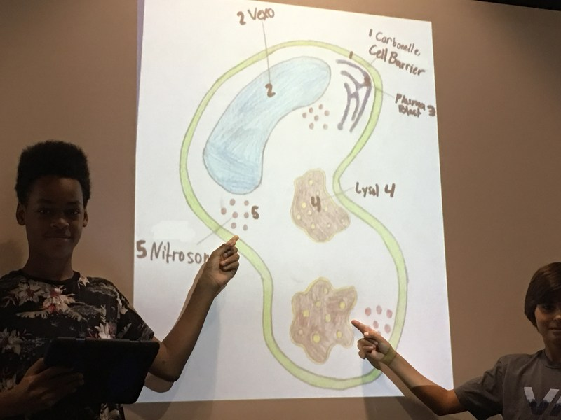 Students present thier ThingLinks of their Titan alien cells